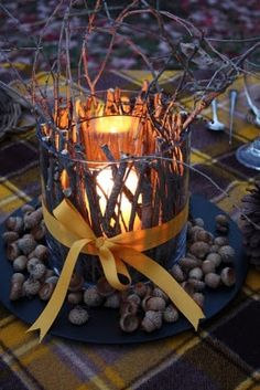 """""""Charlie Brown"""" Thanksgiving Candle Holder...instructions are included to make this rustic twiggy candle holder...."""