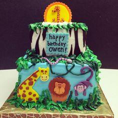 Jungle themed first birthday cake.