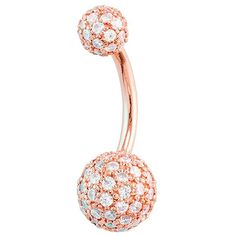The ultimate in luxury body jewelry, this belly button ring is made of high quality 14K yellow gold plated in 24K rose gold and features 5mm & 8mm balls covered in an astounding 98 genuine diamonds that sparkle in a pave setting. The diamonds are hand-set by a master diamond setter and all of our gold jewelry is made in house, in the USA, by our very own jewelers.