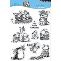 PENNY BLACK RUBBER STAMPS CLEAR CHRISTMAS CRITTERS STAMP SET #PENNYBLACK