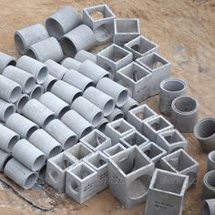Concrete Culverts ...  cement, clay, concrete, construction, construction material, construction site, dirt, drainage pipe, equipment, heavy industry, industry, nobody, pipe, road, road construction, stack