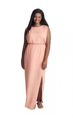 MYNT 1792 Sheer Back Maxi Dress in Coral and White