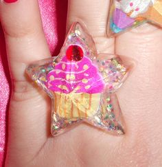 Pink Cupcake with glitter in resin. Star ring. by AngelicConcepts