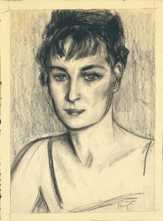 René Magritte - Georgette Magritte. Carvão s/ papel, 1924