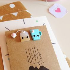 Té y té bolso broche joyería de la arcilla de por LittleDipperShop