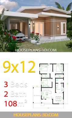 House design Plans with 3 Bedrooms terrace roof - House Plans Modern House Floor Plans, 3d House Plans, Model House Plan, Simple House Plans, House Layout Plans, Simple House Design, House Layouts, House Design Photos, Bungalow Haus Design