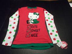 Girls Shirt Hello Kitty Christmas Holiday Top Long Sleeves Youth Junior 3/5 NWT  #HelloKitty #ChristmasHoliday