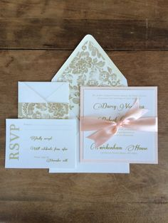 Wedding Invitations Blush and Gold by RiverKissWeddings on Etsy, $4.50 etsy
