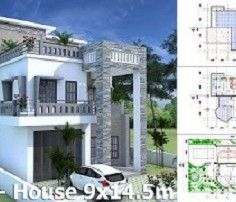 SketchUp Modern Home Plan 6x12m With 3 Bedroom.