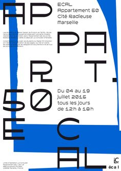"Poster For ECAL exhibiton at La Cité Radieuse Typeface ""Fifty"" by Heejae Yang"