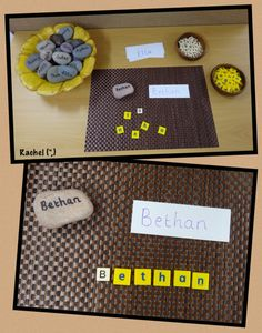 """Activities around 'me' in an Early Years classroom - from Rachel ("""",) Name Writing Activities, Kindergarten Literacy, Alphabet Activities, Early Literacy, Preschool Classroom, Classroom Activities, Preschool Alphabet, Montessori, Writing Area"""