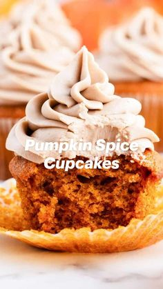 Cupcake Recipes, Baking Recipes, Cupcake Cakes, Dessert Recipes, Great Desserts, Delicious Desserts, Yummy Food, Pumpkin Spice Cupcakes, Pumpkin Dessert