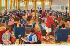 A 'Quiet Lounge' at Butlin's Filey Holiday Camp in Butlins Holidays, British Holidays, Holiday Day, Vintage Holiday, Vintage Postcards, Childhood Memories, Seaside, Camping, Lounge