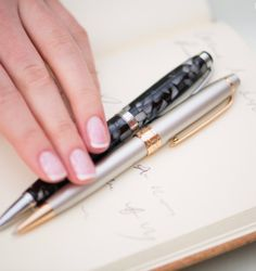 Hit the right note with our pen collection. Pen Collection, Black Marble, Ink Color, Chrome Plating, Design Trends, Great Gifts, Pendants, Contemporary, Stylish