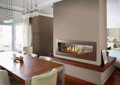 Heatilator | Heatilator® Unveils New Crave Linear Fireplace Series Double Sided Electric Fireplace, Linear Fireplace, Dining Room Fireplace, Double Sided Fireplace, Home Fireplace, Fireplace Inserts, Fireplace Design, Fireplace Ideas, Gas Fireplaces