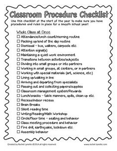 Classroom Procedure Checklist for the Start of the Year - FREE - The great Rachel Lynette was kind enough to share this checklist for the beginning of the year.  This is incredible!