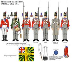 REGIMENT de MEURON- CANADA- 1813-1816---Le régiment de Meuron, sous la conduite du lieutenant-colonel suisse François-Henri de Meuron-Bayard, arrive au Bas-Canada en juillet 1813. Il comprenait quelque 1 000 soldats d'infanterie provenant de diverses nationalités, 27 officiers, 54 sergents, 22 tambours. Quatre compagnies du régiment de Meuron ont participé au siège de Plattsburg en 1814.