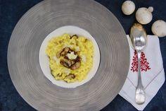 Risotto aux champignons et safran Menu, Eggs, Breakfast, Seasonal Recipe, Vegetable Stock, Dressing, Dish, Menu Board Design, Egg