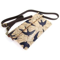 Leather Clutch bag / Or Shoulder Bag  Swallows and by tovicorrie, $168.00