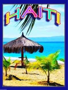 Haiti Caribbean Island Sea Ocean Beach Palm Tree Travel Advertisement Poster   eBay