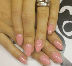 Neutral pink round almond acrylic nails