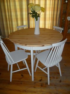 SOLD For Solid Pine Round Dining Table Chairs Painted - Solid pine round dining table