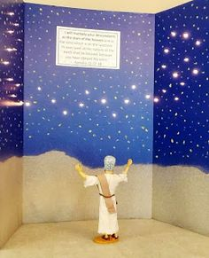 Night sky full of stars for Abram story in Genesis 15. Uses science board and a string of Christmas lights. Good display for retelling the story. Bible Fun For Kids: Genesis: Abraham & Sarah