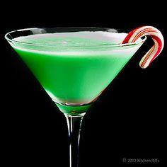 The Grasshopper:  1 ounce green crème de menthe   1 ounce crème de cacao  1 ounce heavy cream  a small candy cane as garnish