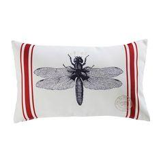 MARRA dragonfly print fabric garden cushion 30 x 50 cm   Maisons du Monde