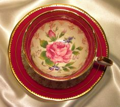 Aynsley Cabinet Tea Cup & Saucer ~ Pink Rose & Ruby Red