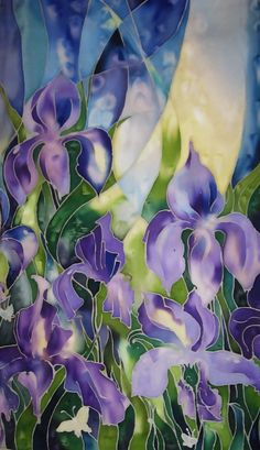 Items similar to Iris flowers. on Etsy Iris Painting, Fabric Painting, Fabric Art, Batik Art, Fibre And Fabric, Painted Silk, Hand Painted, Silk Art, Iris Flowers