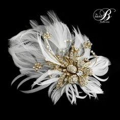 Seraphina Embellished Feather Headpiece – SASSB – Gold