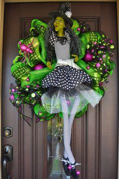 Halloween Wreath Deco Mesh Wreath Mesh by RedWithEnvyDesigns, $175.00