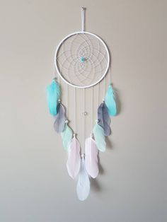 Excited to share the latest addition to my #etsy shop: Small Pink Mint Blue Dream Catcher Wall Hanging-Unicorn Dreamcatcher-Unicorn Nursery-Whimsical-Unicorn Decor-Kids Room Decor-Unicorn Party http://etsy.me/2HUXzK7