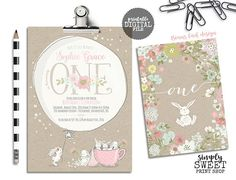 Bunny Birthday Invitation Invite Some Bunny One First Pretty Flower Floral Kraft Rustic Girl Baby Shower Rabbit Tea Party Tea Cup Balloon First Birthday Themes, 1st Birthday Outfits, First Birthdays, Birthday Ideas, Bunny Birthday, Summer Birthday, Girl Birthday, Bunny Party, Pretty Flowers