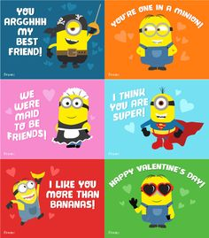 Free Printables Valentines Cards For School Kids | Minion valentines | Despicable Me 3 #valentinesday #valentinesday2018 #minions #printables #printablesforkids