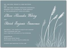 Sea Grass - Signature White Wedding Invitations - Sarah Hawkins Designs - Moss - Green : Front