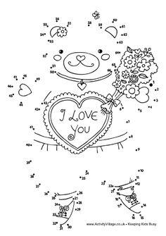 Valentine teddy bear dot to dot