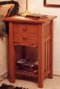 Arts and Crafts Mission End Table Night Stand, Indoor Home Furniture Project Plan | WOOD Store