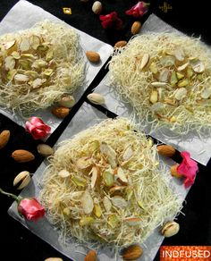 Complex recipe for Sutarfeni, now made super easy and yes…… baked! The much loved Sutarfeni is a dessert that garners much admiration in India. It is made of super thin noodles that are fried, swee… Indian Dessert Recipes, Indian Sweets, Sweets Recipes, Cooking Recipes, Indian Recipes, Indian Snacks, Cake Recipes, Halal Recipes, Indian Foods