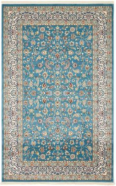 Nain Collection Persian Isfahan Design Traditional Area Rug ( 5' x 8' FT ) Blue Living & Dinning room Décor
