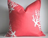 SET Of TWO- 18x18  Designer Pillow In Coral Chartreuse/White. $36.00, via Etsy.