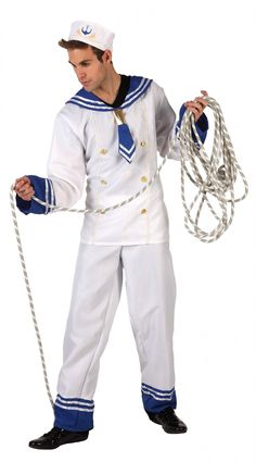 Sailor costume  for man: This sailor costume for men consists of a trousers, a long sleeves tee-shirt and a hat ( shoes and rope not included). The white and blue trousers is elasticated around the waist. The matched...