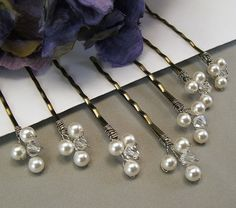 Wedding Hair Accessories - White Pearls and Clear Crystal Bobby Pins, Choice of White or Ivory Pearls Available. $25.00, via Etsy.