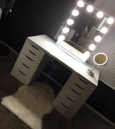 When your dream vanity becomes a reality  @mariaestella_xo setup features the #ImpressionsVanityGlowXL  Ikea Linnmon table top & Alex drawers