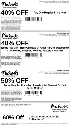 Pinned March 9th: 40% off a single item & more at #Michaels #coupon via The Coupons App