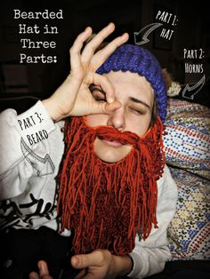 loom knit beard hat - I'd skip the horns and just do the hat and beard