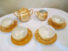 1930's Lusterware tea set for four! by DandAAmbientAntiques on Etsy