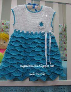 Magia do Crochet: Vestido em crochet com folhos para menina