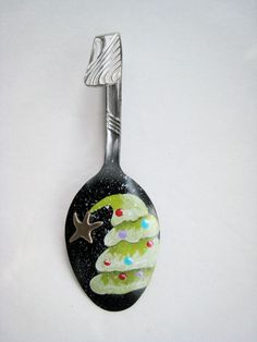 Leaning Christmas Tree Spoon Ornament Hand Painted Spoon
